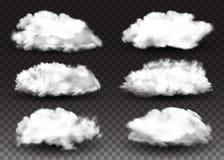 Elementos realistas del diseño Sistema de nubes blancas mullidas Efecto del humo Fondo transparente aislado ejemplo del vector Fotografía de archivo libre de regalías