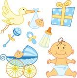 Elementos recém-nascidos bonitos do gráfico do bebê. Fotografia de Stock Royalty Free