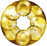 Elementos redondos de oro del diseño Imagen de archivo
