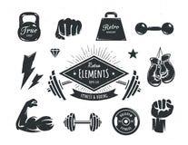 Elementos retros da aptidão Imagens de Stock Royalty Free