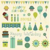 Elementos retros de la celebración del cumpleaños Foto de archivo