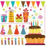 Elementos retros de la celebración del cumpleaños Imágenes de archivo libres de regalías
