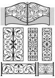 Elementos retros de la decoración del hierro labrado stock de ilustración