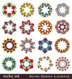 Elementos retros de la flor para el diseño Imágenes de archivo libres de regalías