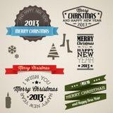 Elementos retros de la Navidad de la vendimia del vector stock de ilustración