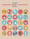 25 elementos retros de los iconos Foto de archivo libre de regalías