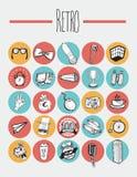 25 elementos retros de los iconos Imagen de archivo