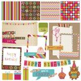 Elementos retros del diseño de la celebración del cumpleaños Imagenes de archivo
