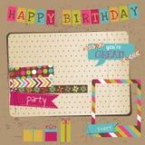 Elementos retros del diseño de la celebración del cumpleaños Fotos de archivo libres de regalías