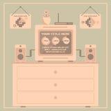 Elementos retros do infographics Teste padrão feliz sem emenda da família do pixel art Foto de Stock Royalty Free