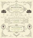 Elementos retros finos decorativos, marco victoriano, divisor, frontera, vector del vintage Imagenes de archivo