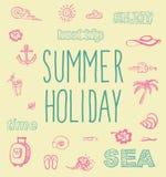 Elementos retros para los diseños caligráficos del verano Imagen de archivo libre de regalías