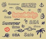 Elementos retros para los diseños caligráficos del verano Fotos de archivo