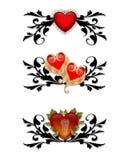 Elementos rojos del diseño del corazón del negro del oro Imágenes de archivo libres de regalías