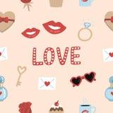 Elementos románticos lindos y fondo inconsútil del modelo de la tipografía para el día de los valentine's ilustración del vector