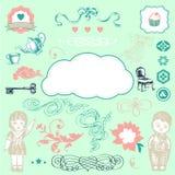 Elementos românticos encantadores - vetor ilustração do vetor