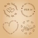 Elementos románticos del diseño para el día de tarjetas del día de San Valentín Foto de archivo