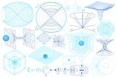 Elementos, símbolos e esquemas da ciência ilustração royalty free