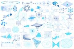 Elementos, símbolos e esquemas da ciência ilustração do vetor
