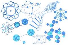 Elementos, símbolos y esquemas de la ciencia Foto de archivo
