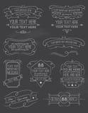 Elementos seis de la pizarra de la caligrafía del vintage Imagen de archivo