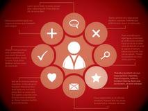 Elementos sociales de los media en fondo rojo Foto de archivo libre de regalías