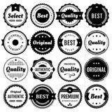 Elementos superiores de la insignia y de la escritura de la etiqueta Fotografía de archivo libre de regalías