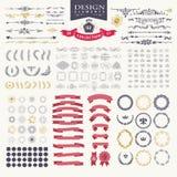Elementos superiores do projeto Grande para logotipos retros do vintage Imagens de Stock