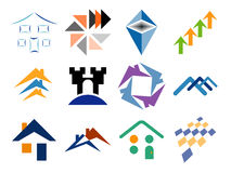 Elementos temáticos constructivos del diseño de la insignia del vector Imagenes de archivo