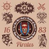 Elementos temáticos del diseño del pirata - sistema del vector Imagenes de archivo