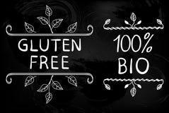 Elementos tipográficos dibujados mano en la pizarra Gluten libre y el 100 por ciento de BIO Ilustración del vector Fotografía de archivo