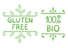 Elementos tipográficos dibujados mano Gluten libre y el 100 por ciento de BIO Ilustración del vector ilustración del vector