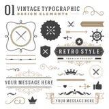 Elementos tipográficos do projeto do vintage retro Imagens de Stock Royalty Free