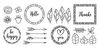 Elementos tipográficos do projeto do vintage retro As setas, etiquetas, fitas, logotipo, símbolos, caligrafia rodam, ornamento ilustração stock
