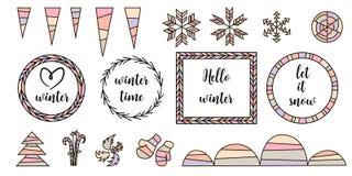 Elementos tipográficos do projeto do vintage retro Setas, etiquetas, alcatrões, flocos de neve, sincelos, quadro, snowbanks ilustração do vetor