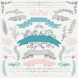 Elementos tirados do design floral do vetor mão colorida Imagem de Stock Royalty Free