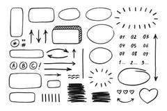 Elementos tirados mão da garatuja para planejadores, bandeiras, infographics, etc. ilustração do vetor