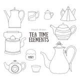 Elementos tirados mão do tempo do chá Imagem de Stock Royalty Free