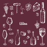 Elementos tirados mão do vinho Grupo de ícones do vetor: garrafa, queijo, uvas, copo de vinho e etc. Fotografia de Stock