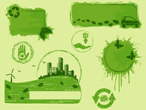 elementos Todo-verdes del diseño del eco del grunge Fotografía de archivo