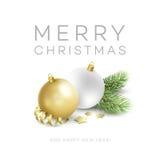 Elementos tradicionais da decoração do Natal Projetos modernos do cartão ou do cartaz Ilustração do vetor ilustração stock