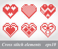 Elementos transversais do projeto do bordado do ponto do vetor Imagens de Stock