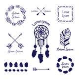Elementos tribales dibujados mano del vector Imágenes de archivo libres de regalías