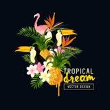 Elementos tropicales del diseño Imagenes de archivo