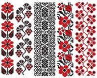 Elementos ucranianos de la flor del bordado ilustración del vector