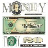 20 elementos variados da nota de dólar ilustração royalty free