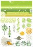 Elementos verdes do fundo e do projeto ilustração do vetor