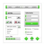 Elementos verdes do projeto do Web site Imagem de Stock