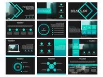 Elementos verdes dos moldes da apresentação em um fundo preto Infographics do vetor Uso na apresentação, no inseto e no folheto, ilustração royalty free
