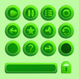 Elementos verdes móviles del vector para el juego de Ui Imagen de archivo